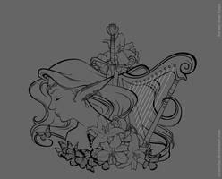 Harp  bw by IrisErelar