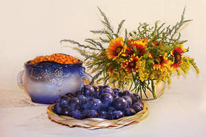 Plums, Gerberas and Seaberry by Favoletta