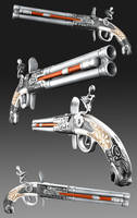 Fancy Double Barrel Flintlock by RabidBrains