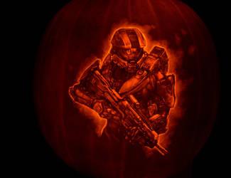Halo 4 pumpkin 2012 by qw3323