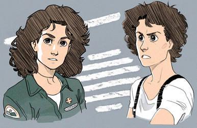 Ellen Ripley from Alien and Aliens by GuilhermeRM