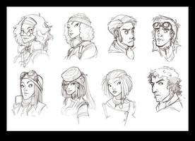 Protagonist sketches by Rhubarbarian