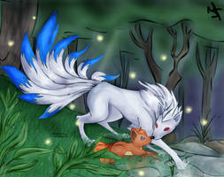 Ninetales and Vulpix by Bluepisces97