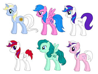 MLP Year 2 Unicorns + Pegasi by kaoshoneybun