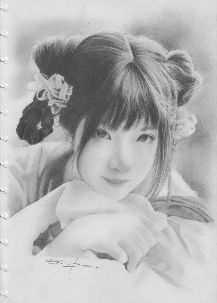 Beauty Asian girl .... pencil on paper in 25112018 by twiens