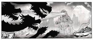 Gojira vs. Ghidorah by aaronjohngregory