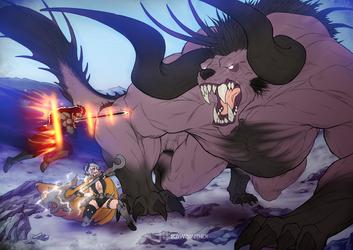 Adventurers vs Behemoth by KawaINDEX