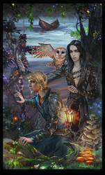 Arthur and Merlin on Avalon by Venlian
