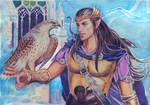 Fingon with Falcon by Venlian