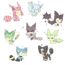 Skitty Variations! by Ooolongtea
