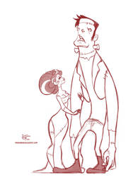Halloween Doodle 03: Frankenstein and Bride by MeoMai
