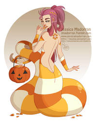 Drawlloween - Candy Corn Snake by MeoMai