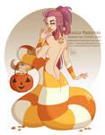 Drawlloween - Candy Corn Snake by MeoMai