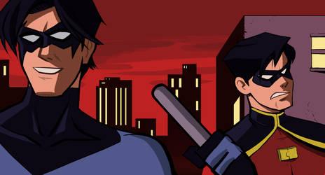 Nightwing and Robin by Benjaminjuan