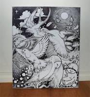 Birds in flight - Canvas by Kinky-chichi