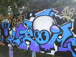 robot graffiti by bramiac