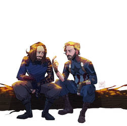 two bros chilling on a fallen trunk by spidertams