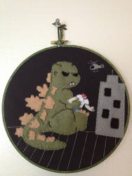 Cutie Godzilla Embroidery Hoop by CutieCornerCrafts