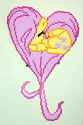 Fluttershy Heart Perler Wall Art by LillyInverse