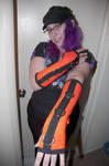 Custom Orange UV Reactive Arm Warmers by LillyInverse