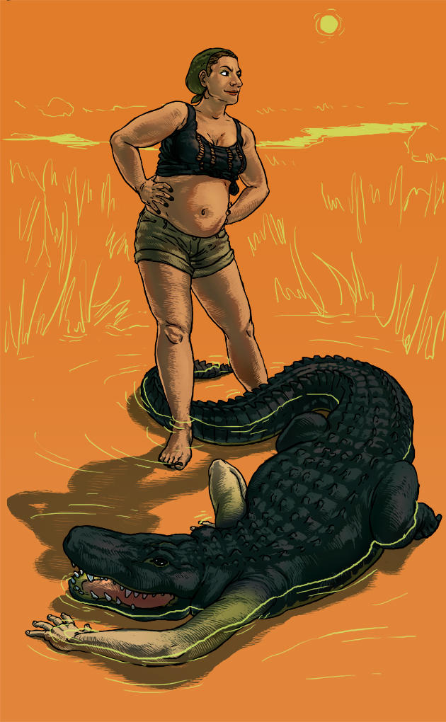 Lady and Alligator by swimmingtrunks