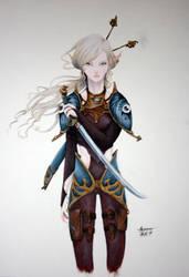 elf warrior by hubie-the-cat