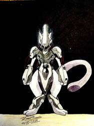 Armored Mewtwo by audiobrainiac