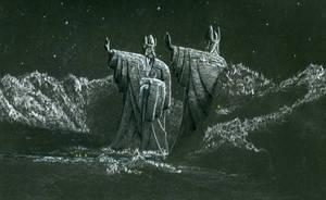Night and the Argonath by EthalenSkye