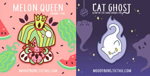 Melora and Cat Ghost Pins by MissMaddyTaylor