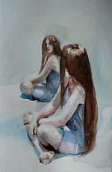 Double self portrait + VIDEO TUTORIAL (watercolor) by Kamlot-ART