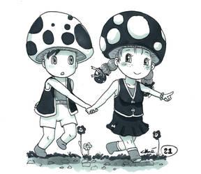 Inktober 2018 day 21: Mushrooms by chlogummy