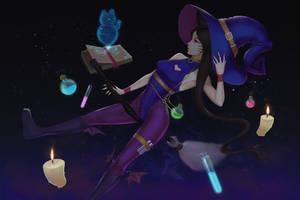 Ahri Witch [Halloween Wallpaper] by neozumi