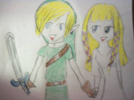 Link and Zelda by Freak-of-Games