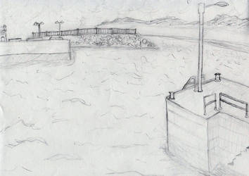 Ireland Harbor Landscape Sketch by Behonkiss