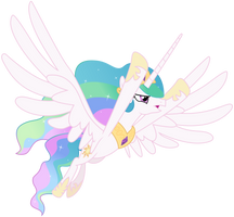 Princess Celestia - Flying in Distress by CaliAzian