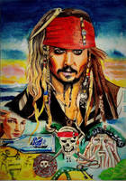 Pirates of Carribean Collage Drawing by ZuzanaGyarfasova