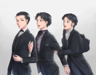 Holmes, Raffles and Lupin by chantilin