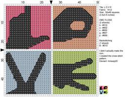 L O V E cross stitch by Krissay20