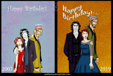 Then and Now: Caked Birthday Card by wolfanita