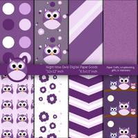 Night time Purple Owls Digital Paper Goods by anwaarsaleh