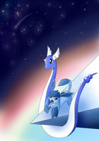 Dragonair and Glaceon by Mangapprentice