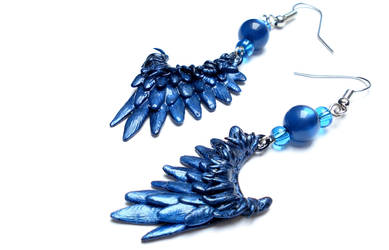 Blue Wing Earrings by Sturmdaemonin