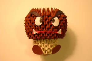 3D Origami Goomba by CrystallizedJello