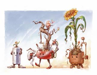 Robot Planters by JBellio