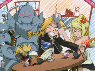 FMA- Al, Ed, Winry, and a Cat by melodicwords
