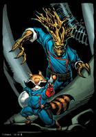 Groot and Rocket Raccoon by spidermanfan2099