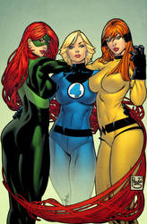 3 Marvel Girls coloured by spidermanfan2099