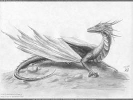 11.01 lying dragon on the rock by axe-ql