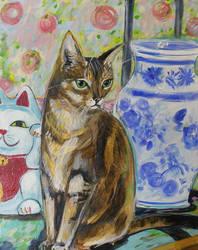 Lucky cat by JennyJump