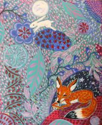 Kitsune Dreamscape by JennyJump